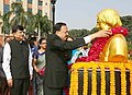 The Minister of State for Defence, Dr. Subhash Ramrao Bhamre garlanding the bust of the former President of India and DRDO Chief, Dr. A.P.J. Abdul Kalam, on his 87th Birth Anniversary, at DRDO Bhawan, New Delhi.JPG