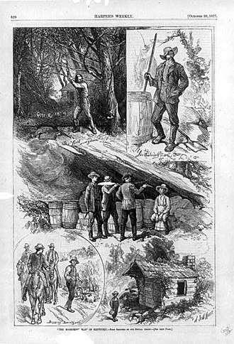 Moonshine - The Moonshine Man of Kentucky, an illustration from Harper's Weekly, 1877, showing five scenes from the life of a Kentucky moonshiner