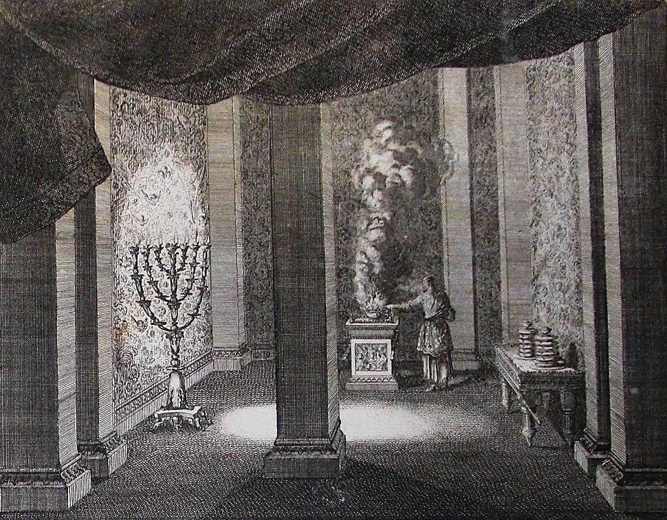 The Phillip Medhurst Picture Torah 505. Sanctifying the Tabernacle. Exodus cap 40 vv 12-27. Caspar Luyken