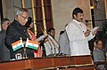 The President, Shri Pranab Mukherjee administering the oath as Minister of State (Independent Charge) to Dr. K. Chiranjeevi, at a Swearing-in Ceremony, at Rashtrapati Bhavan, in New Delhi on October 28, 2012.jpg