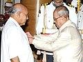 The President, Shri Pranab Mukherjee presenting the Padma Vibhushan Award to Shri Ramoji Rao, at a Civil Investiture Ceremony, at Rashtrapati Bhavan, in New Delhi on April 12, 2016.jpg