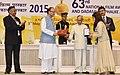The President, Shri Pranab Mukherjee presenting the Rajat Kamal Award to Ms. Monali Thakur (Best Female Playback Singer) for Dum Laga Ke Haisha, at the 63rd National Film Awards Function, in New Delhi.jpg