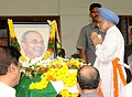 The Prime Minister, Dr. Manmohan Singh paying homage at the mortal remains of the former Chief Minister of Andhra Pradesh, late Dr. Y.S. Rajasekhara Reddy, in Hyderabad, Andhra Pradesh on September 04, 2009.jpg