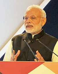 The Prime Minister, Shri Narendra Modi addressing the India-UK Tech Summit, in New Delhi on November 07, 2016 cropped.jpg
