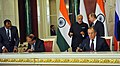 The Prime Minister, Shri Narendra Modi and the President of Russian Federation, Mr. Vladimir Putin witnessing the signing of agreements, at Moscow, in Russia on December 24, 2015.jpg