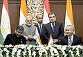 The Prime Minister, Shri Narendra Modi and the President of Tajikistan, Mr. Emomali Rahmon witnessing the signing of agreement, in Dushanbe, Tajikistan on July 13, 2015 (1).jpg