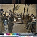 The Ramc in training, Blackpool - the medical inspection room and dispensary Art.IWMART3681.jpg