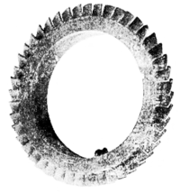 The Steam Turbine, 1911 - Fig 6 - Straight Blading of First Turbine made, 1884.png