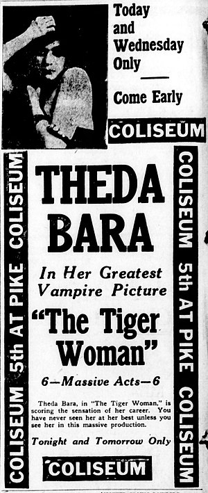 The Tiger Woman (1917 film) - Contemporary newspaper advertisement.