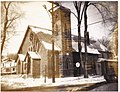 The United Church on the corner of Fourth and Thomas Streets in Deseronto, Ontario, taken in the winter-time looking northeast. The image has been stained due to poor processing. (3683841107).jpg