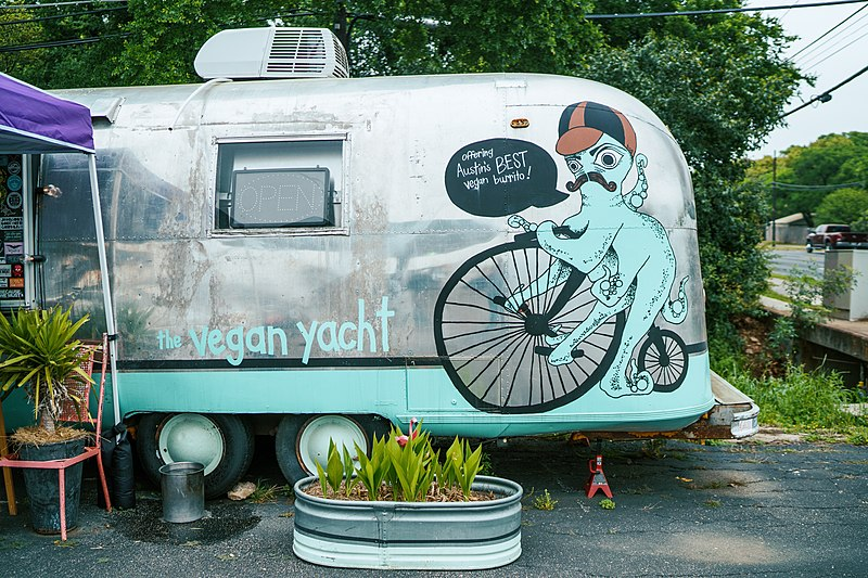 The Vegan Yacht's original location; a food truck in central Austin.