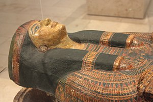 Colin Scott-Moncrieff - The coffin lid of Iufenamun, Egyptian high priest, presented by Colin Scott-Moncrieff to the Royal Scottish Museum
