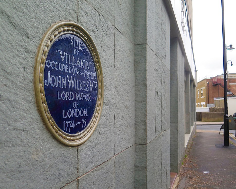 The plaque marking the site of John Wilkes' villa in Sandown, Isle of Wight