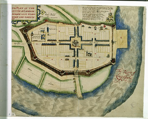 A plan of the new city of Derry c.1622 The plat of the Cittie of Londonderrie as it stands built and fortyfied (27114684854).jpg