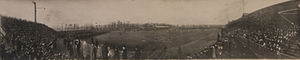 1909 Ottawa Rough Riders season - Panoramic photograph of the Grey Cup playoffs between the Ottawa Rough Riders and the Toronto Varsity Blues, 27 November 1909