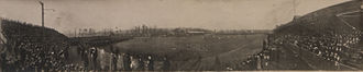 1909 in Canadian football - Panoramic photograph of the Grey Cup playoffs between the Ottawa Rough Riders and the Toronto Varsity Blues, 27 November 1909