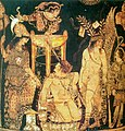 Theatre scene painted by Python, ancient Greek vase painter.jpg