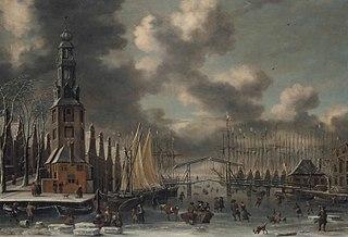 Winter landscape with the Montelbaanstoren, Amsterdam