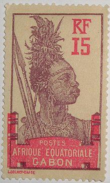 Collection timbres du protectorat en Afrique vers 1960 220px-Timbre_Gabon_AE_Guerrier_1910