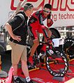 Tour of California 2010, G Hincapie on trainer (5673887444).jpg