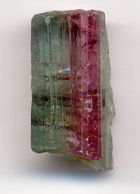 Bi-colored tourmaline crystal, 0.8 inches long (2 cm).