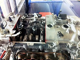 Vista en corte de un VVT-i, Temporizador Variable de Vávulas Inteligente, Variable Valve Timing Intelligent