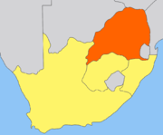 The geography of the region; the South African Republic (Transvaal) highlighted, with the Orange Free State to the south, the British Cape Colony to the south west and the Natal to the east