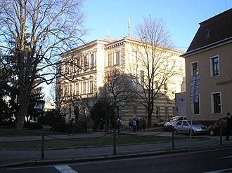 Gymnázium Třebíč - Front view of historical building of gymnasium