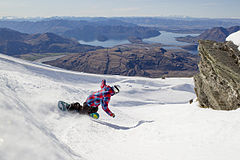 Treble Cone, Wanaka NZ - Saddle Basin Snowboarder.jpg