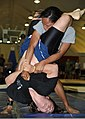 Triangle choke attempt in grappling tournament at Joint Base Balad, Iraq, 2011.jpg