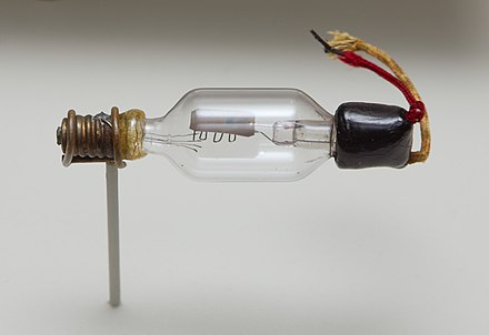 Triode Audion from 1908. The filament (which was also the cathode) would be at the lower left inside the tube, but the filament has burned out and is no longer present. The filament's connecting and supporting wires are visible. The plate is at the middle top, and the grid is the serpentine electrode below it. The plate and grid connections leave the tube at the right. Triode tube 1906.jpg