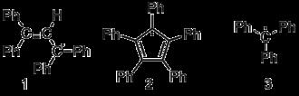 Karl Ziegler - Example of three tri-valent carbon free radicals. 1. 1,2,4,5-tetraphenylallyl. 2. pentaphenylcyclopentadienyl. 3. triphenylmethyl.