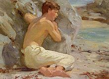 Tuke, Henry Scott (1858–1929) - Youth in white trousers.jpg