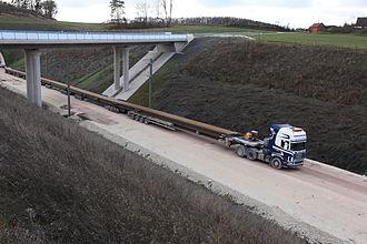 Nuremberg–Erfurt high-speed railway - November 2013, rail track transport vehicle near Reitersberg Tunnel