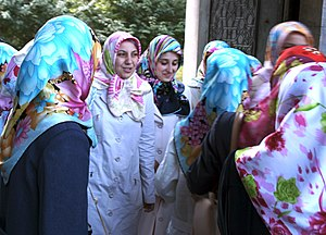 A group of Turkish women, wearing different co...