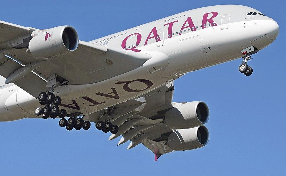 Twenty main wheels of Qatar Airways A380 (A7-APD) arr London Heathrow 10Sept2015 arp