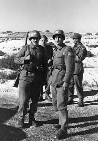 United Nations Emergency Force - UNEF Yugoslav soldiers in Sinai in 1957