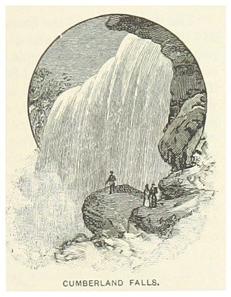 Cumberland Falls - Illustration of the falls from the King's Hand-book of the United States, 1891