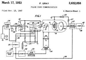 Gray code - Part of front page of Gray's patent, showing PCM tube (10) with reflected binary code in plate (15)