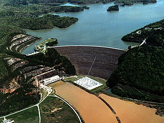 Carters Dam - Aerial view of Carters Dam and Lake