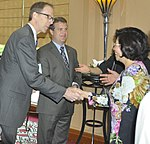 USAID Vietnam Mission Director Joakim Parker (left), Acting Senior Deputy Assistant Administrator Jason Foley of USAID (center) and Ms. Phan Thi My Linh, Vice Minister of Vietnam's Ministry of Construction (right) (14098101696).jpg