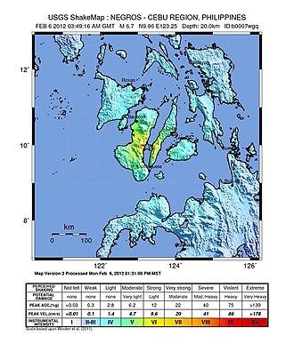2012 Visayas earthquake - USGS ShakeMap