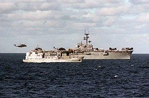 USS Inchon (LPH-12) with East German SIGINT ship Jasmund 1986.JPEG