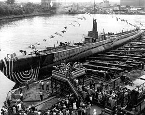 Lamprey (SS-372), immediately after launching 18 June 1944.