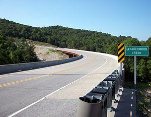 U.S. Route 62 in Arkansas - Bridge over Leatherwood Creek west of Eureka Springs.