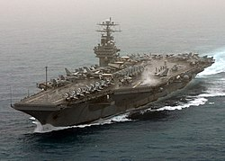 US Navy 030320-N-0275F-501 USS Theodore Roosevelt (CVN 71) currently deployed, powers through the Mediterranean Sea.jpg