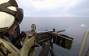 Iron sights - Aerial gunnery iron ring sight on a GAU-21 that allows for compensating for the roll-pitch-yaw of an aircraft.