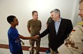 US Navy 050211-N-8796S-062 German Foreign Minister Joscha Fischer shakes the hand of an Indonesian patient while touring the University Hospital in Banda Aceh, Indonesia.jpg