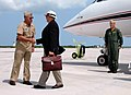 US Navy 070625-N-5240C-026 Naval Air Station Key West Commanding Officer Capt. J.R. Brown greets Secretary of the Navy (SECNAV), The Honorable Dr. Donald C. Winter on the flight line at the air station.jpg