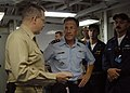 US Navy 071129-N-2821G-008 Capt. K. A. Parker, commanding officer of the guided-missile cruiser USS Philippine Sea (CG 58), talks with Air Force Lt. Gen. Norman R. Seip, commander of 12th Air Force and Air Forces Southern.jpg